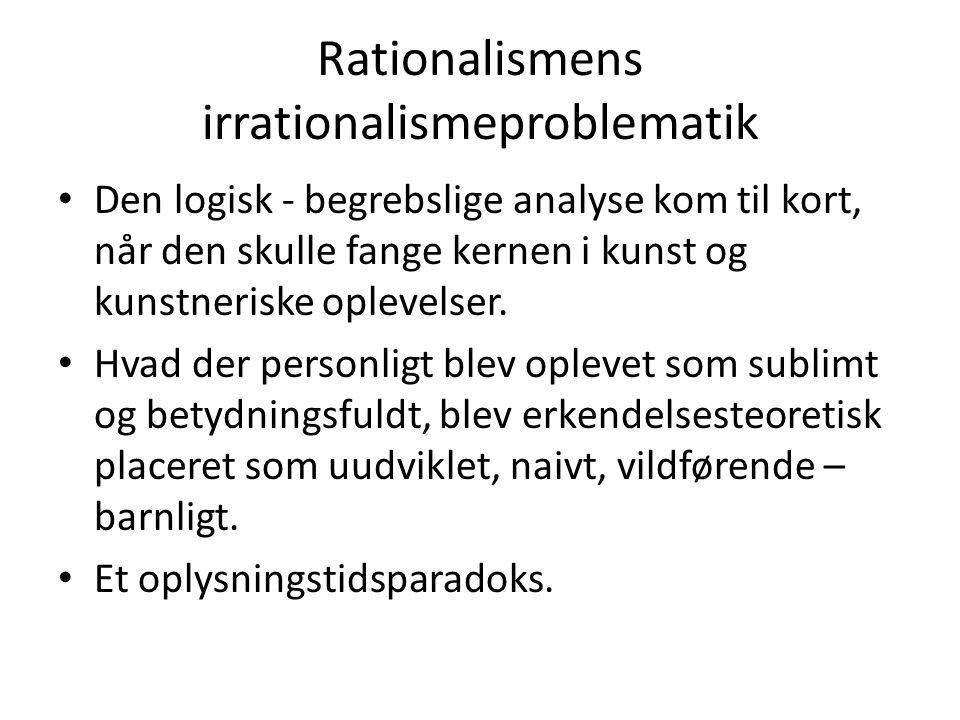 Rationalismens irrationalismeproblematik