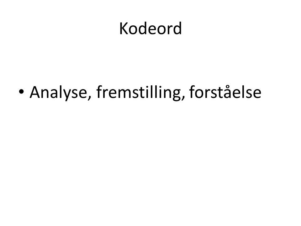 Kodeord Analyse, fremstilling, forståelse