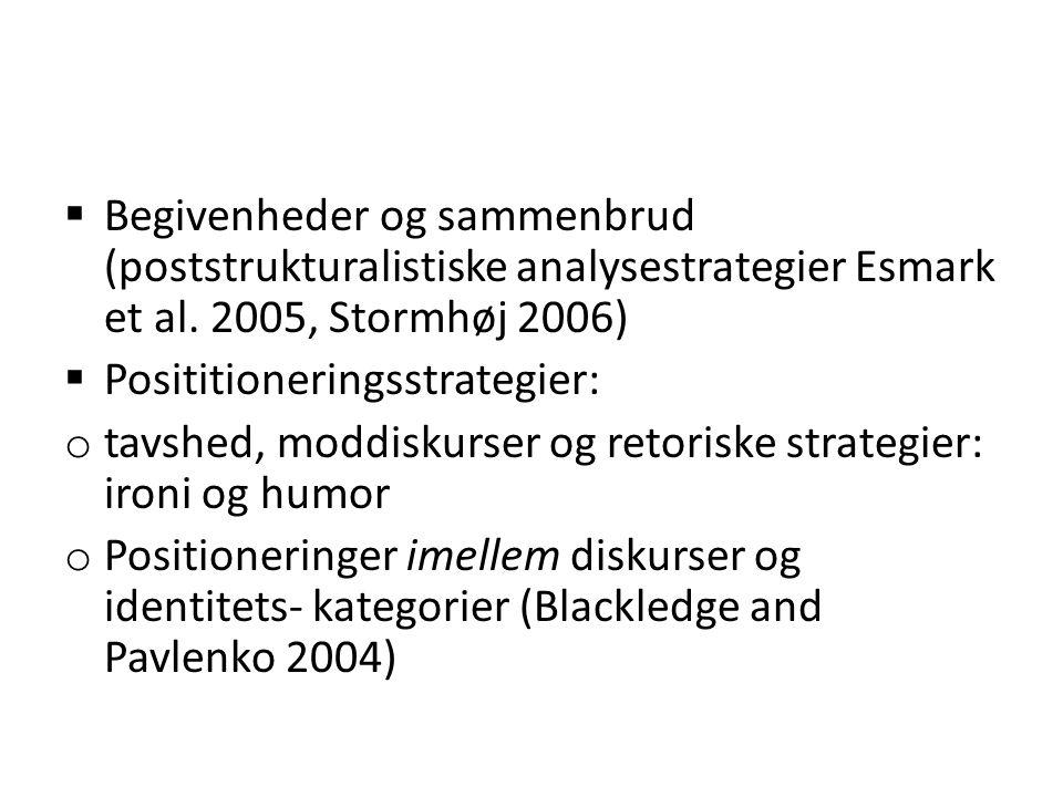 Begivenheder og sammenbrud (poststrukturalistiske analysestrategier Esmark et al. 2005, Stormhøj 2006)