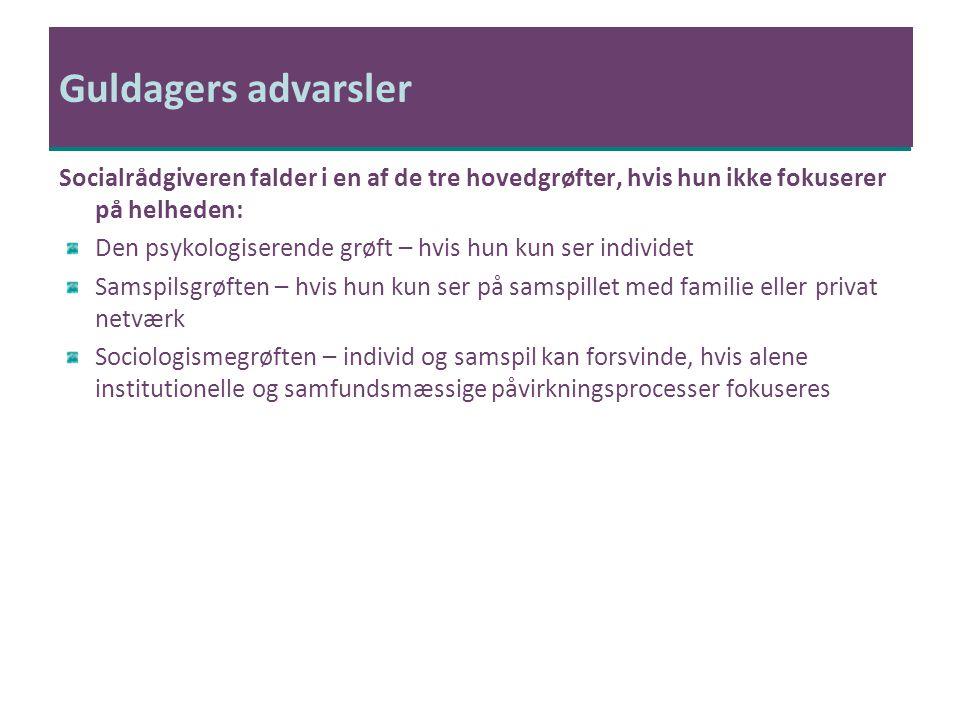 Guldagers advarsler Socialrådgiveren falder i en af de tre hovedgrøfter, hvis hun ikke fokuserer på helheden: