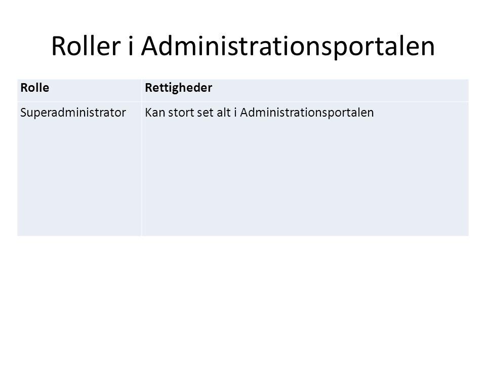 Roller i Administrationsportalen