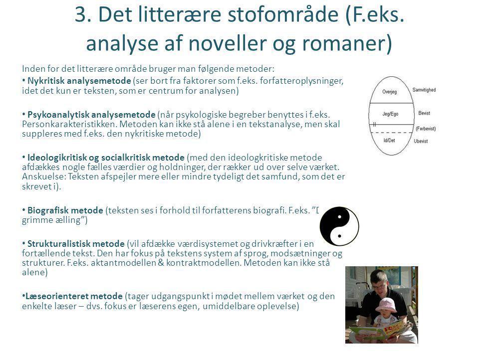 3. Det litterære stofområde (F.eks. analyse af noveller og romaner)