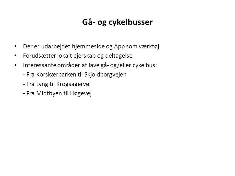 Gå- og cykelbusser Der er udarbejdet hjemmeside og App som værktøj