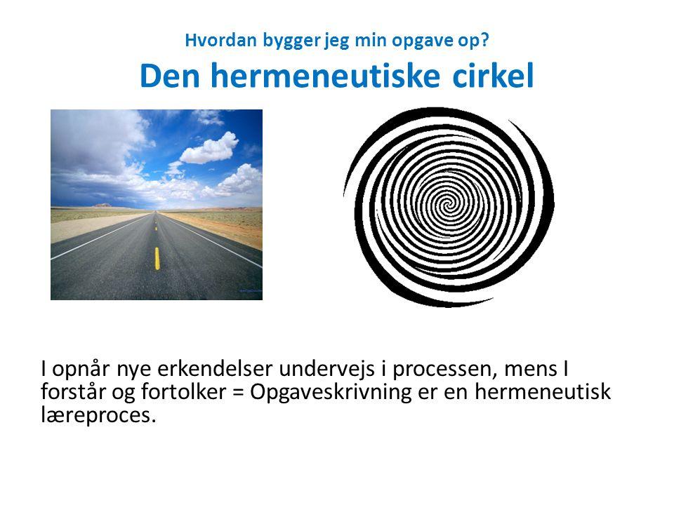 Hvordan bygger jeg min opgave op Den hermeneutiske cirkel