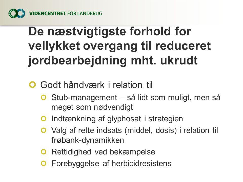 De næstvigtigste forhold for vellykket overgang til reduceret jordbearbejdning mht. ukrudt