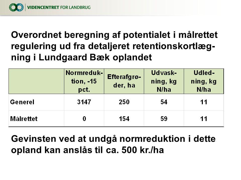 Overordnet beregning af potentialet i målrettet regulering ud fra detaljeret retentionskortlæg-ning i Lundgaard Bæk oplandet