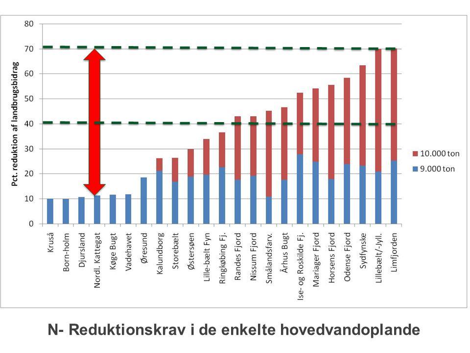 N- Reduktionskrav i de enkelte hovedvandoplande