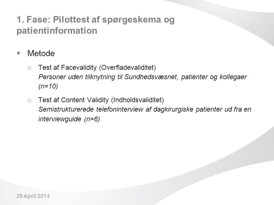 1. Fase: Pilottest af spørgeskema og patientinformation