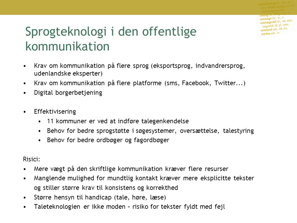 Sprogteknologi i den offentlige kommunikation