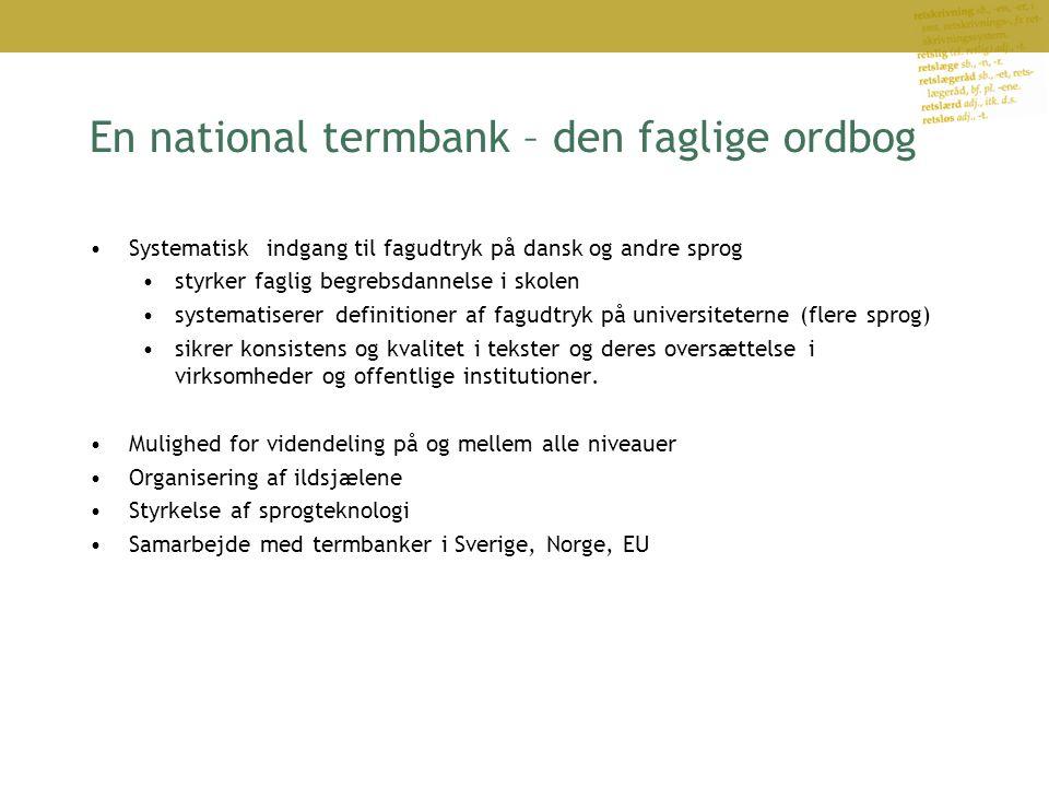 En national termbank – den faglige ordbog