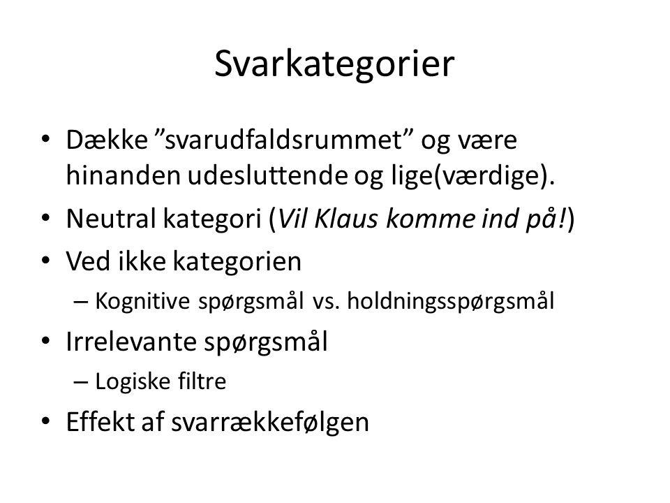 Svarkategorier Dække svarudfaldsrummet og være hinanden udesluttende og lige(værdige). Neutral kategori (Vil Klaus komme ind på!)