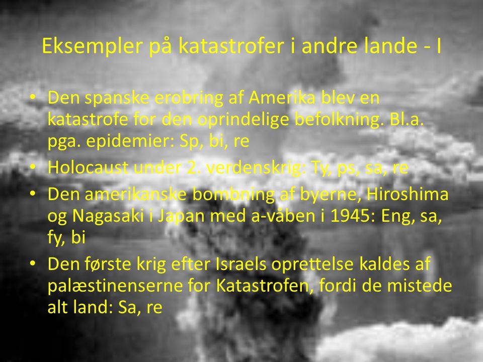Eksempler på katastrofer i andre lande - I