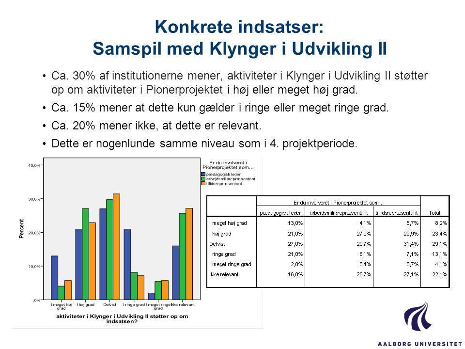 Konkrete indsatser: Samspil med Klynger i Udvikling II