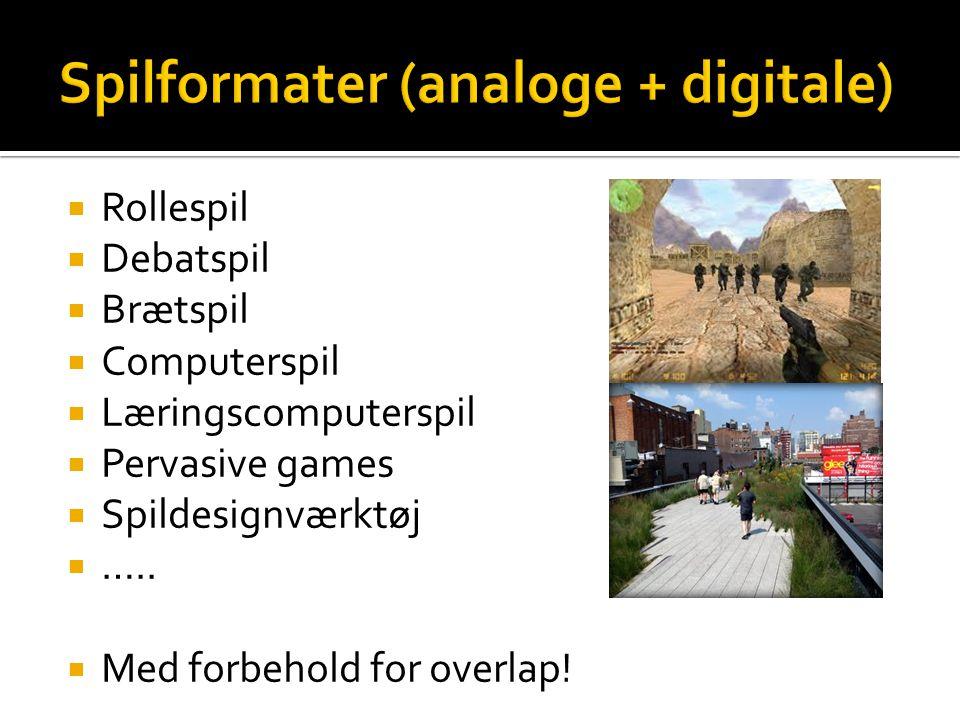 Spilformater (analoge + digitale)