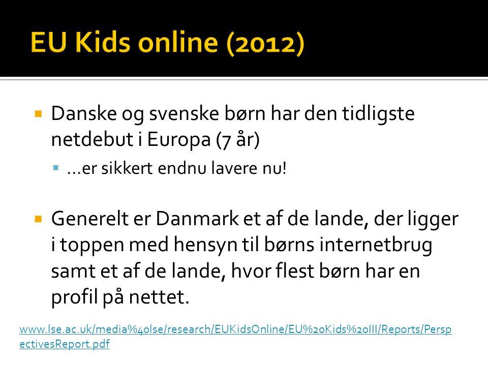 EU Kids online (2012) Danske og svenske børn har den tidligste netdebut i Europa (7 år) ...er sikkert endnu lavere nu!