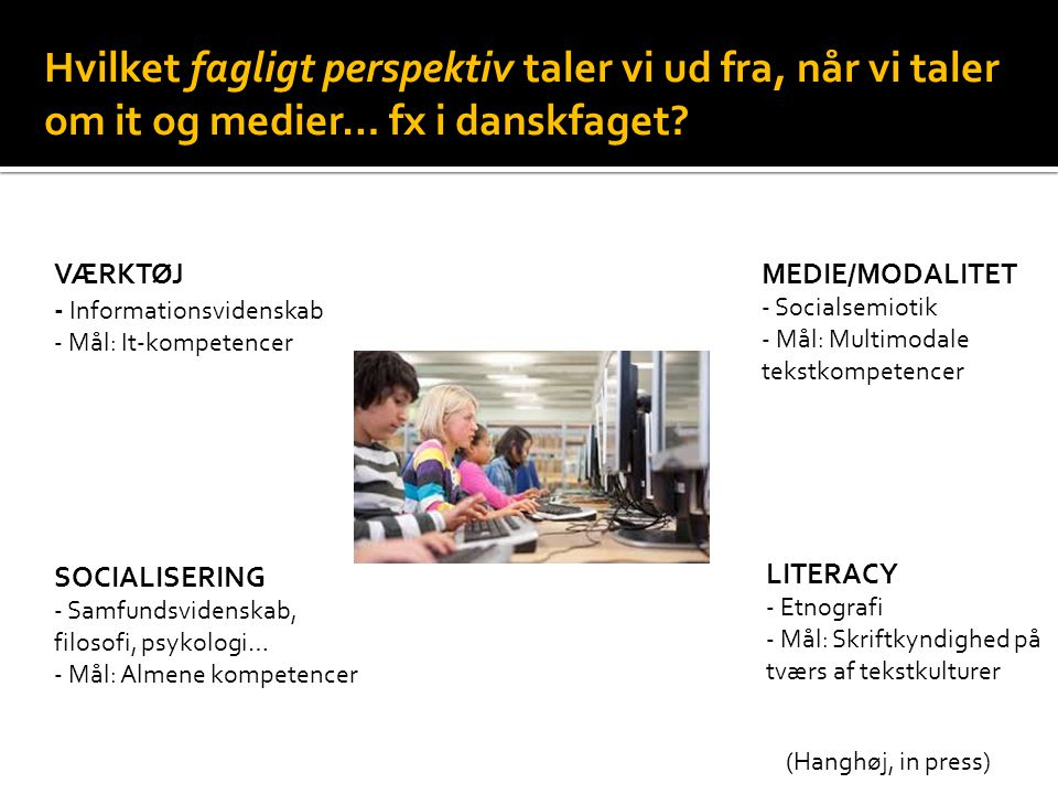 Hvilket fagligt perspektiv taler vi ud fra, når vi taler om it og medier… fx i danskfaget