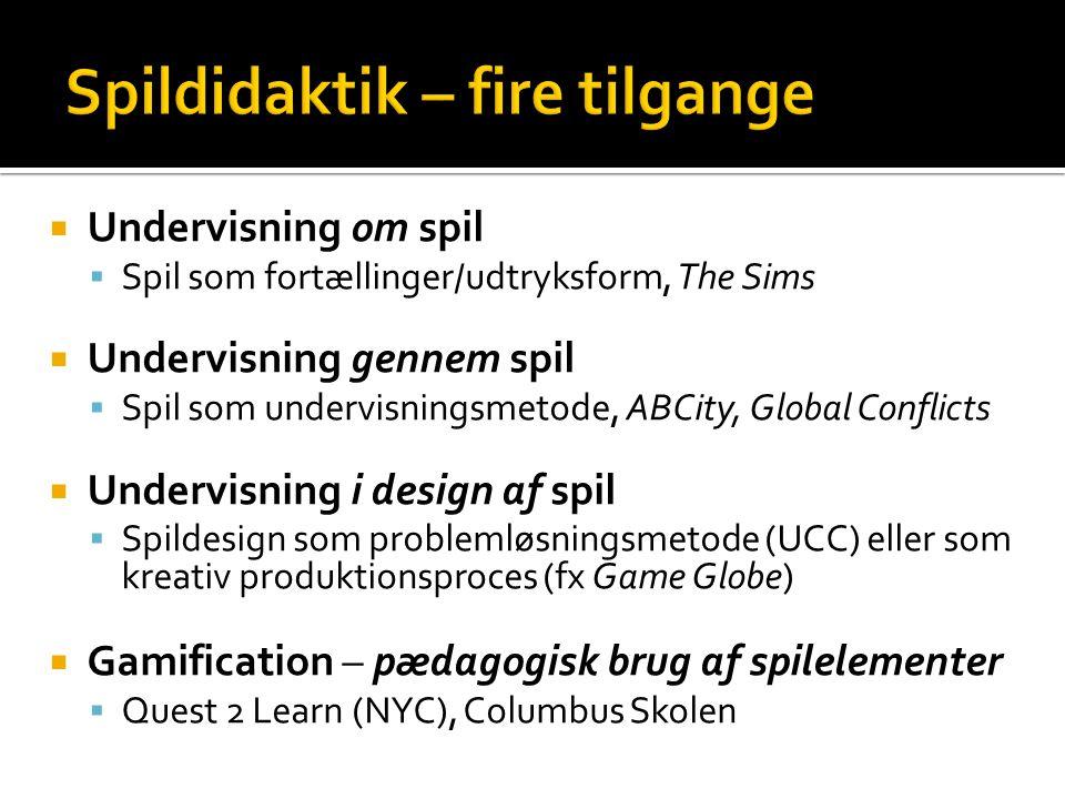 Spildidaktik – fire tilgange