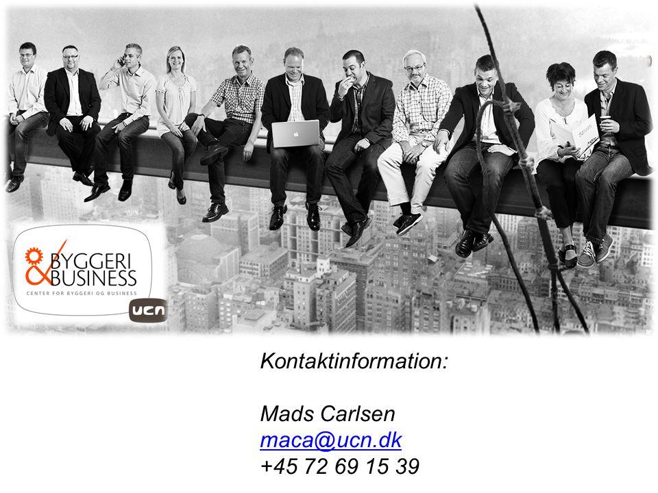 Kontaktinformation: Mads Carlsen maca@ucn.dk +45 72 69 15 39