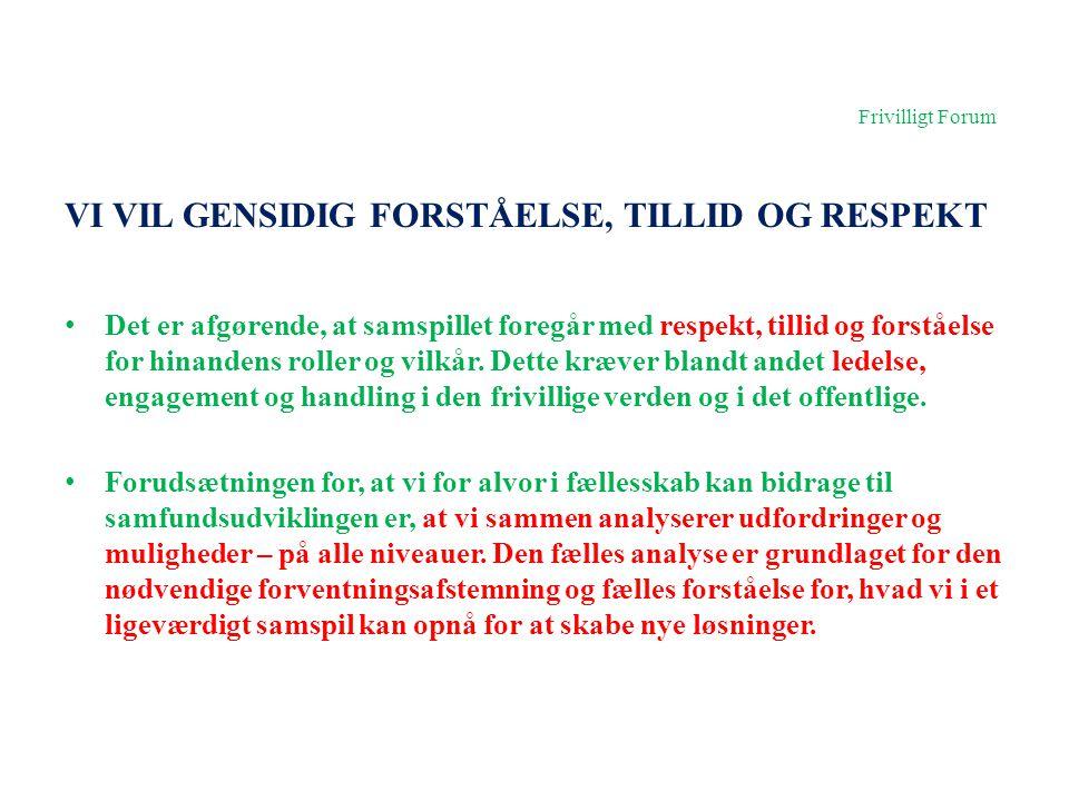 Frivilligt Forum VI VIL GENSIDIG FORSTÅELSE, TILLID OG RESPEKT