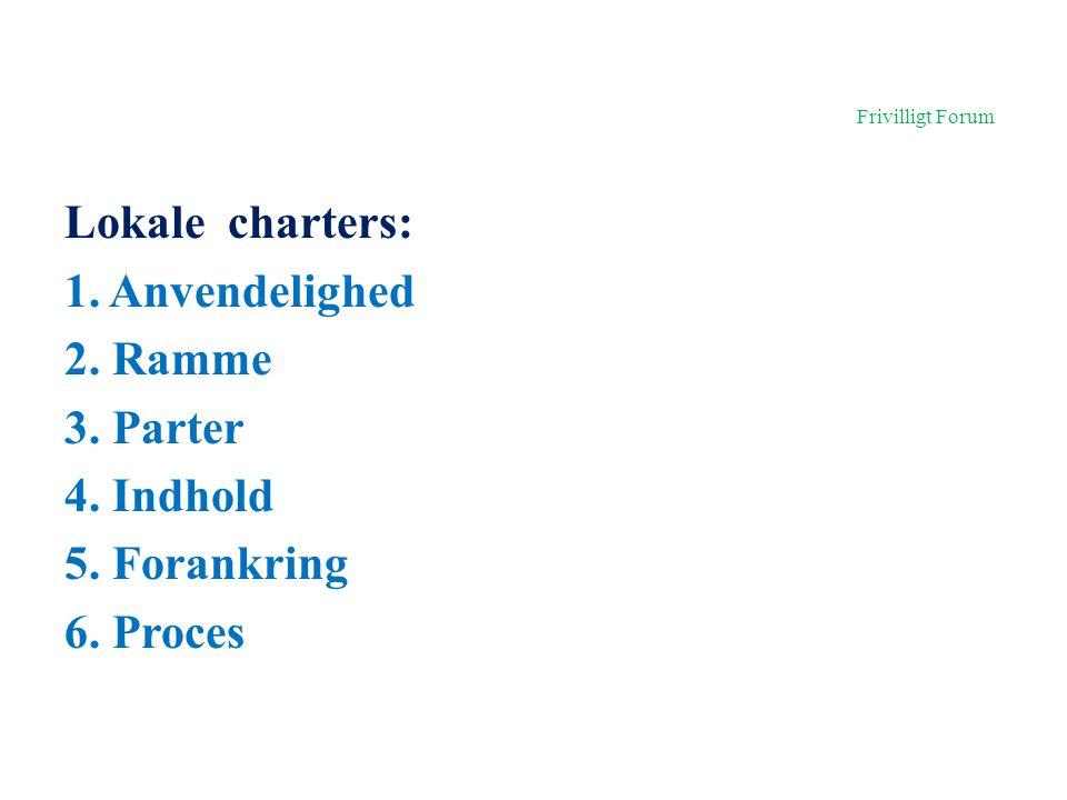Frivilligt Forum Lokale charters: 1. Anvendelighed 2.