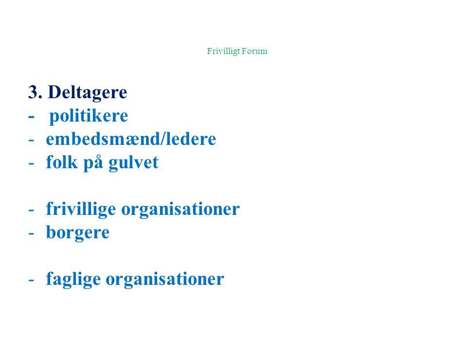 Frivilligt Forum 3. Deltagere - politikere embedsmænd/ledere