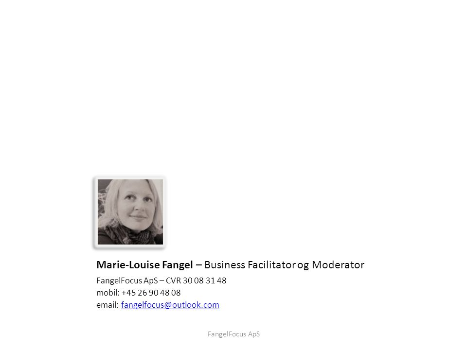 Marie-Louise Fangel – Business Facilitator og Moderator