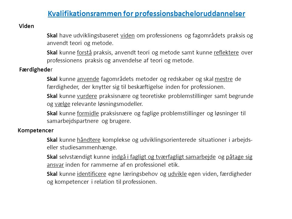 Kvalifikationsrammen for professionsbacheloruddannelser