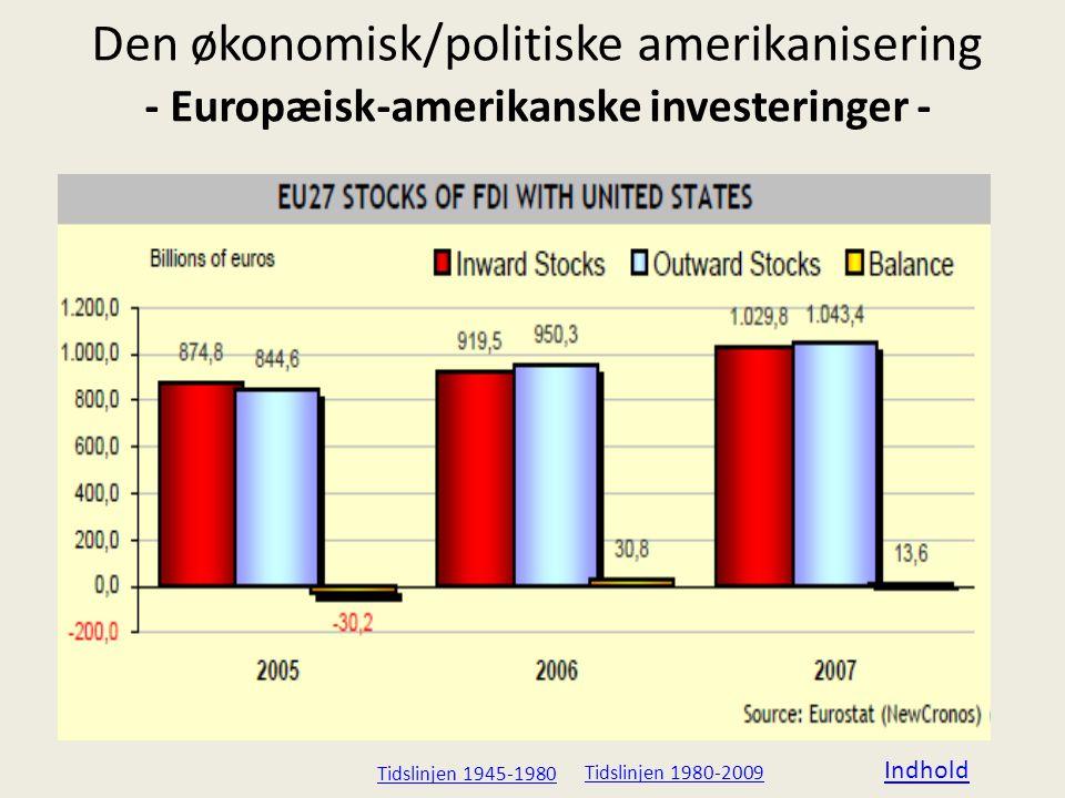 Den økonomisk/politiske amerikanisering - Europæisk-amerikanske investeringer -