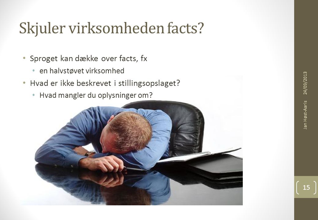 Skjuler virksomheden facts