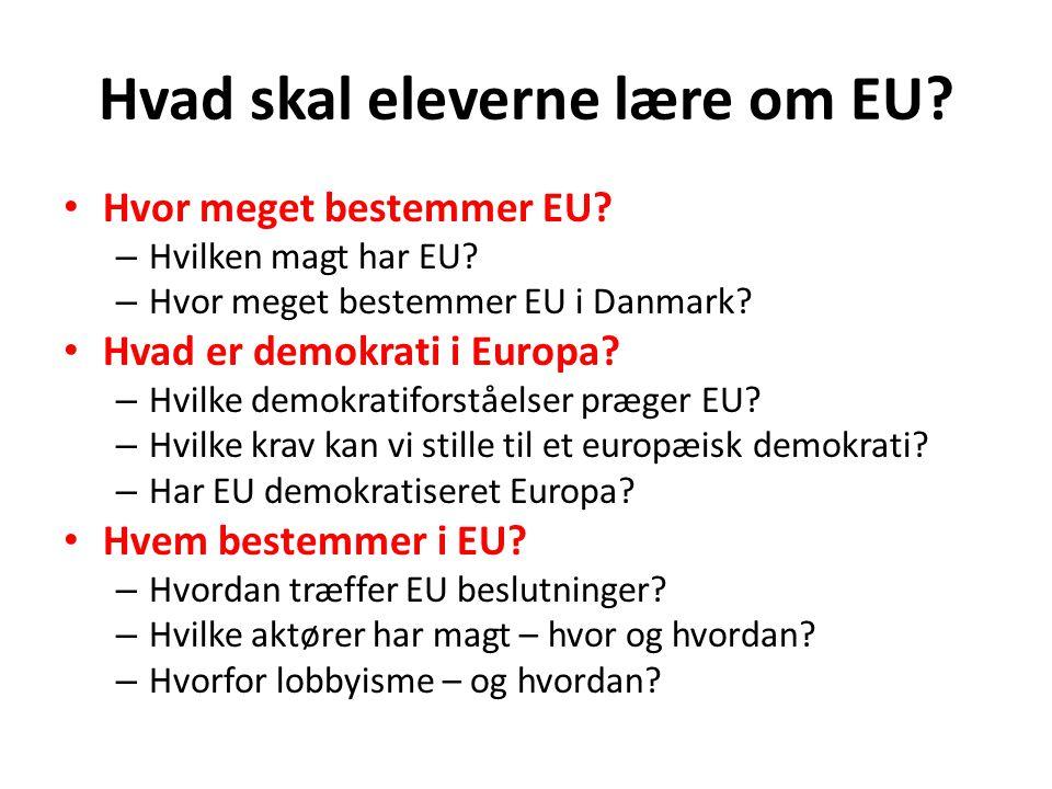 Hvad skal eleverne lære om EU
