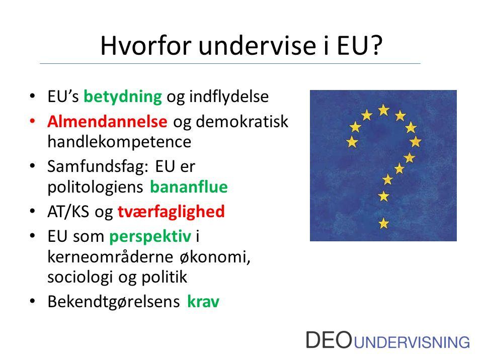 Hvorfor undervise i EU EU's betydning og indflydelse