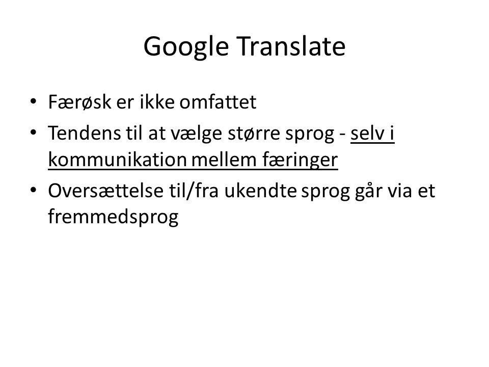 Google Translate Færøsk er ikke omfattet