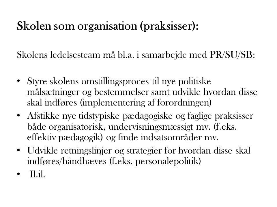 Skolen som organisation (praksisser):