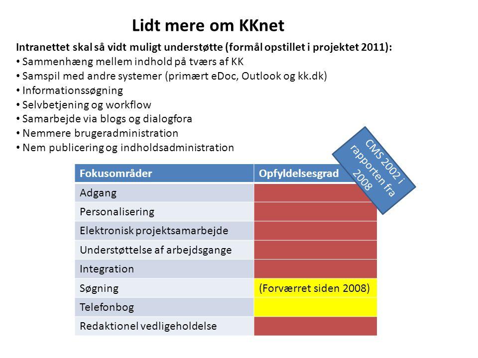 Lidt mere om KKnet Intranettet skal så vidt muligt understøtte (formål opstillet i projektet 2011):
