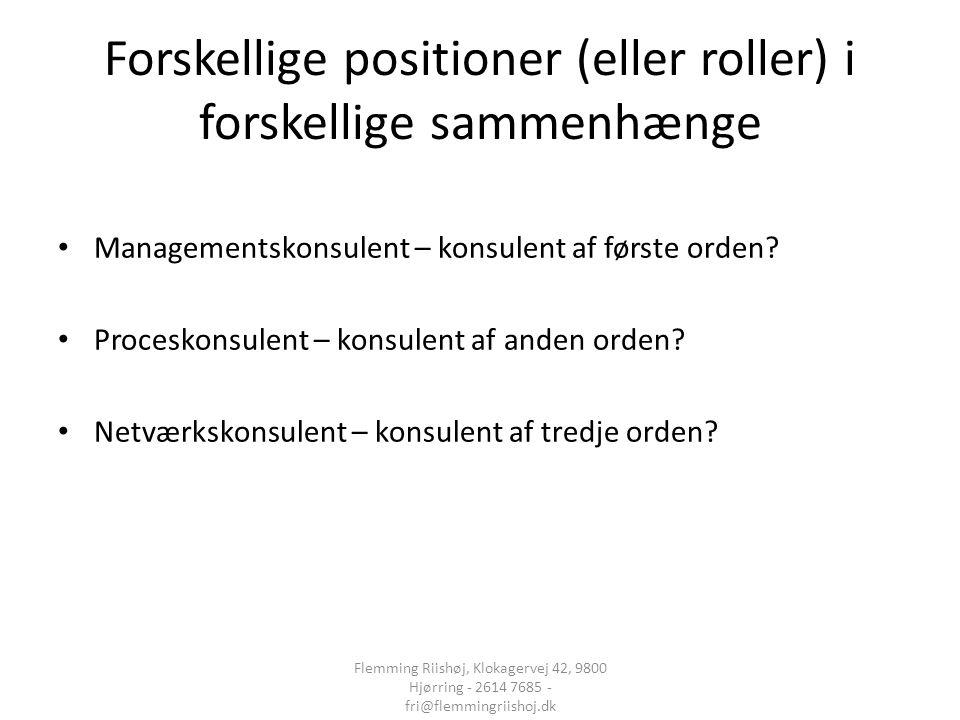Forskellige positioner (eller roller) i forskellige sammenhænge