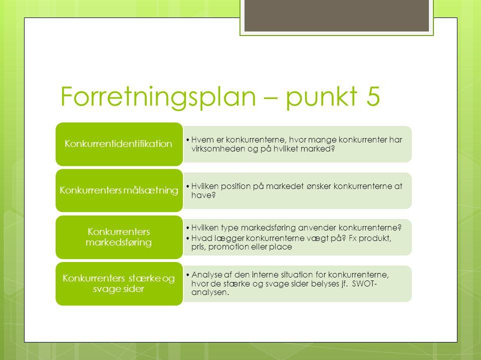Forretningsplan – punkt 5