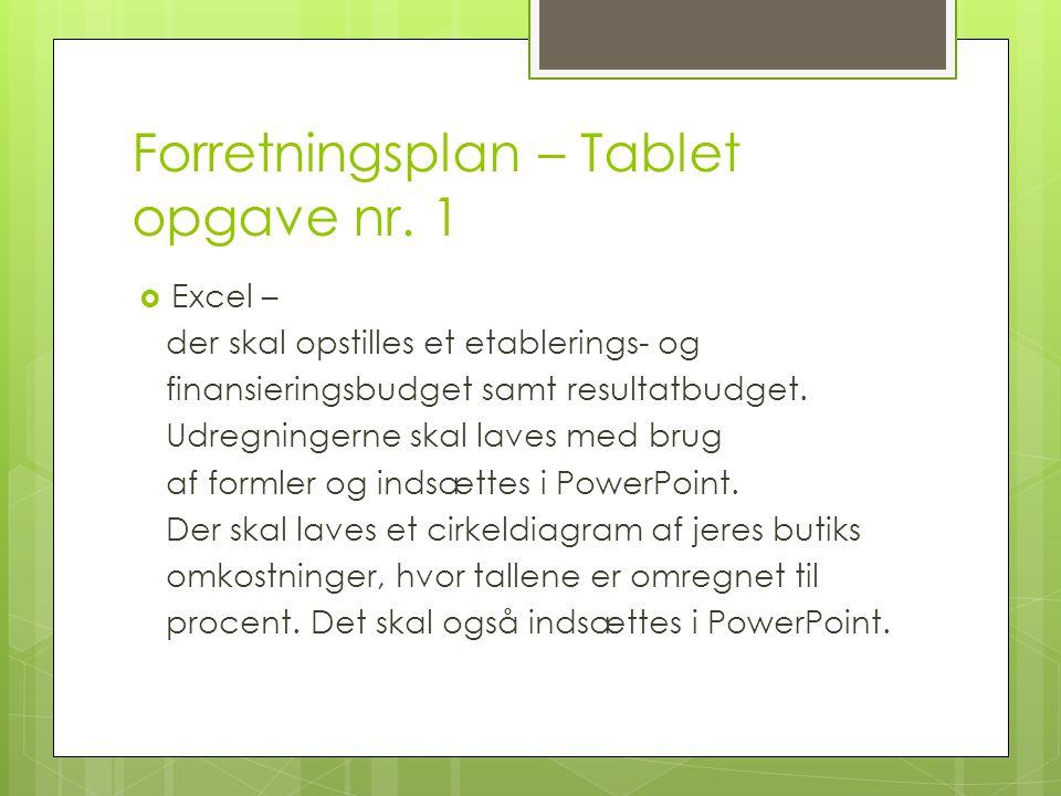 Forretningsplan – Tablet opgave nr. 1