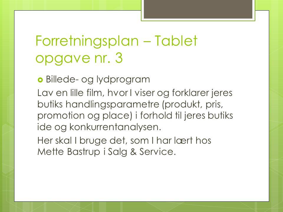Forretningsplan – Tablet opgave nr. 3