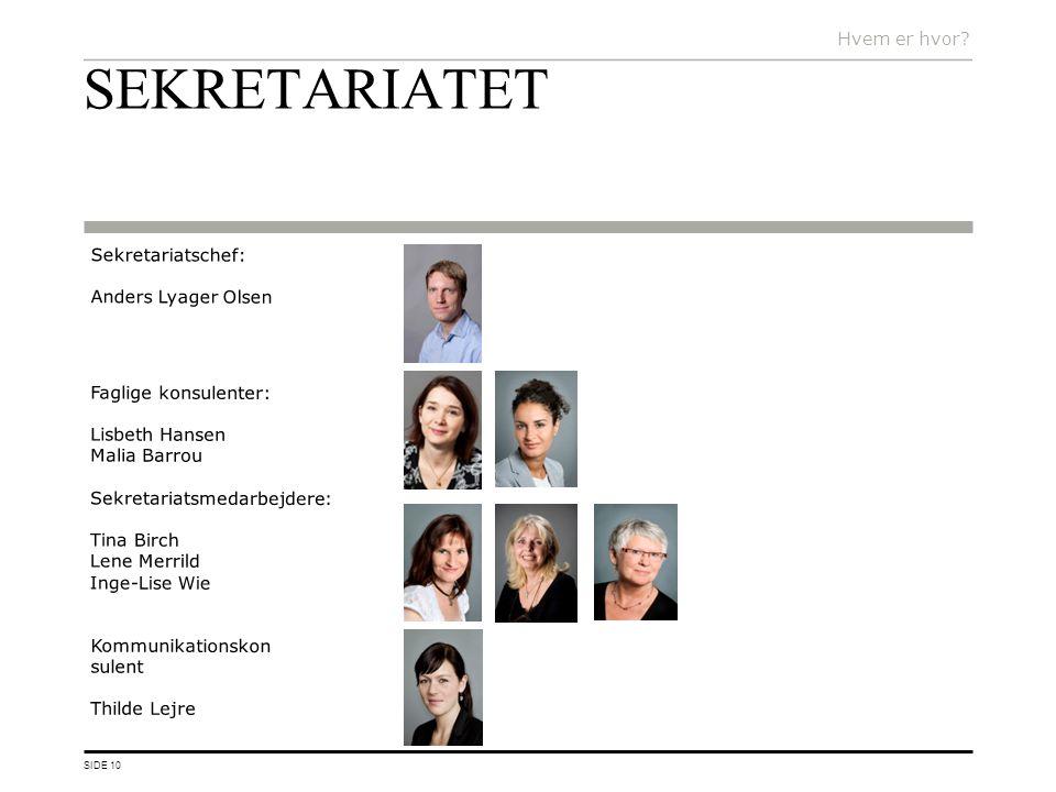 SEKRETARIATET Hvem er hvor Sekretariatschef: Anders Lyager Olsen