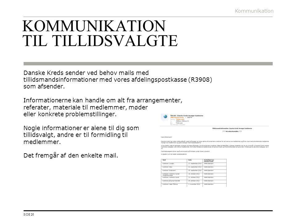 KOMMUNIKATION TIL TILLIDSVALGTE