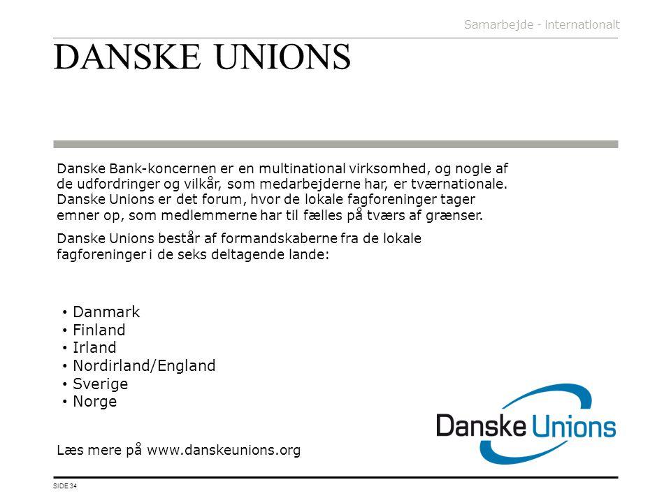 DANSKE UNIONS Danmark Finland Irland Nordirland/England Sverige Norge