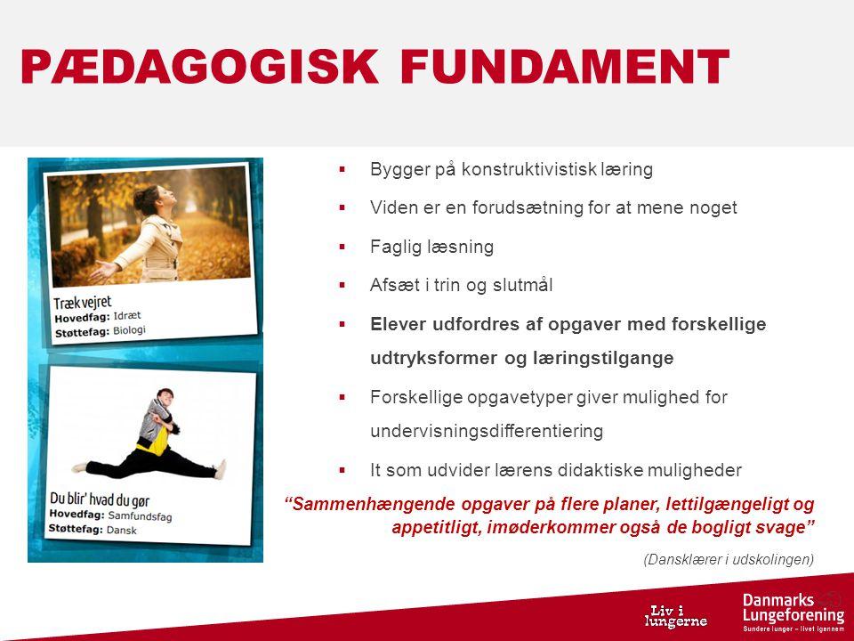 PÆDAGOGISK FUNDAMENT Bygger på konstruktivistisk læring
