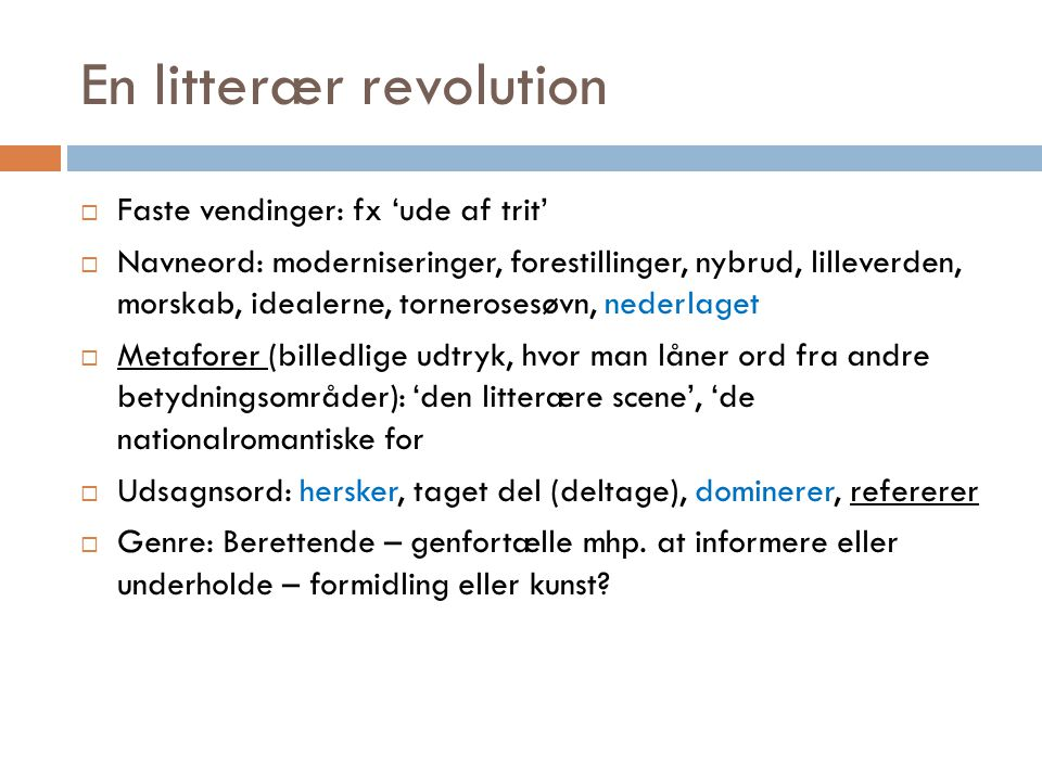 En litterær revolution