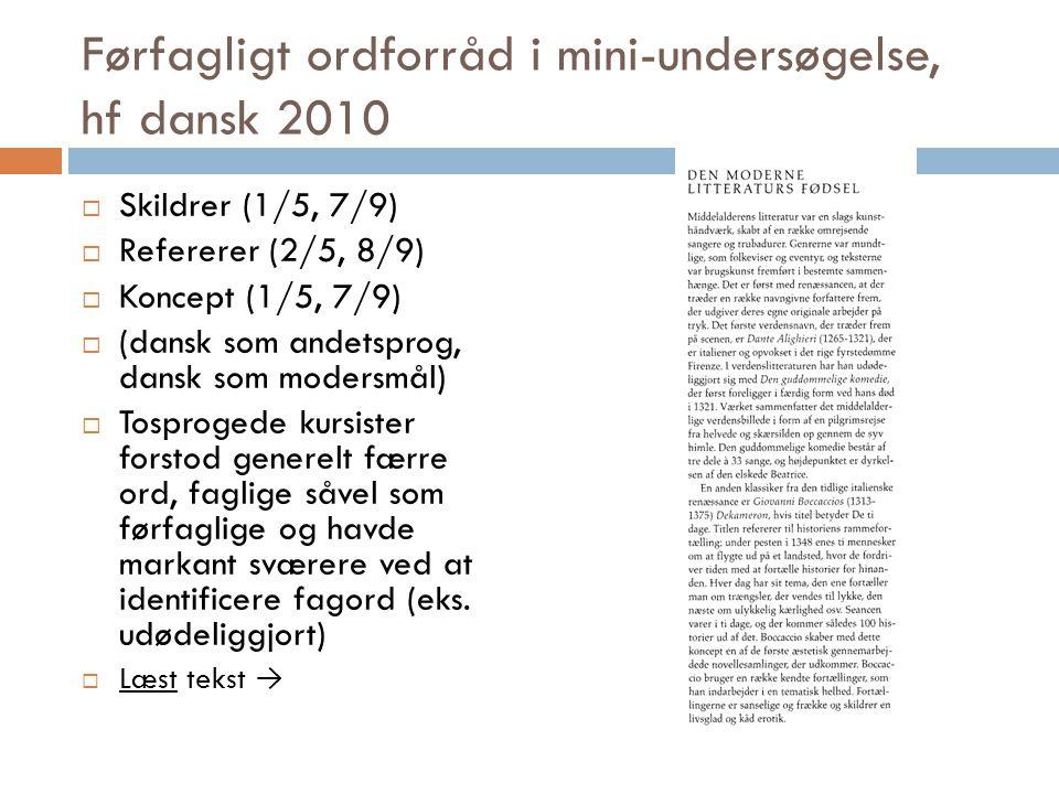 Førfagligt ordforråd i mini-undersøgelse, hf dansk 2010