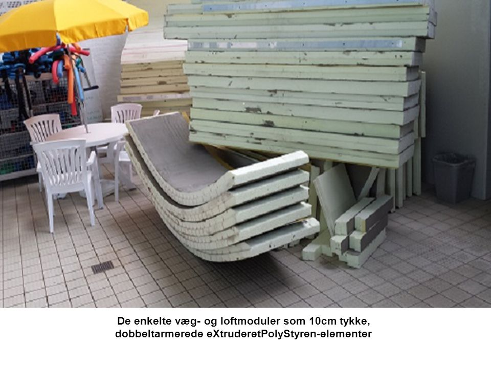 De enkelte væg- og loftmoduler som 10cm tykke, dobbeltarmerede eXtruderetPolyStyren-elementer