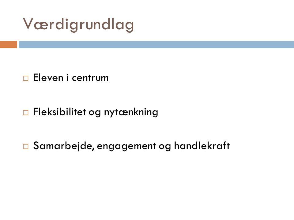 Værdigrundlag Eleven i centrum Fleksibilitet og nytænkning