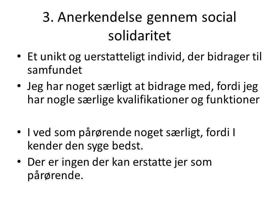3. Anerkendelse gennem social solidaritet