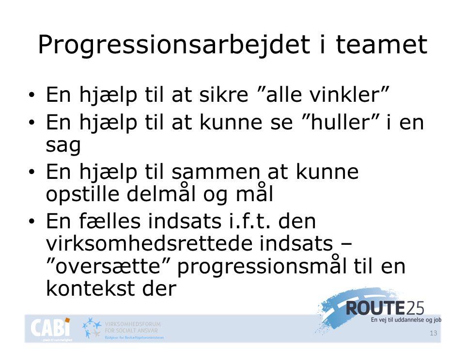 Progressionsarbejdet i teamet