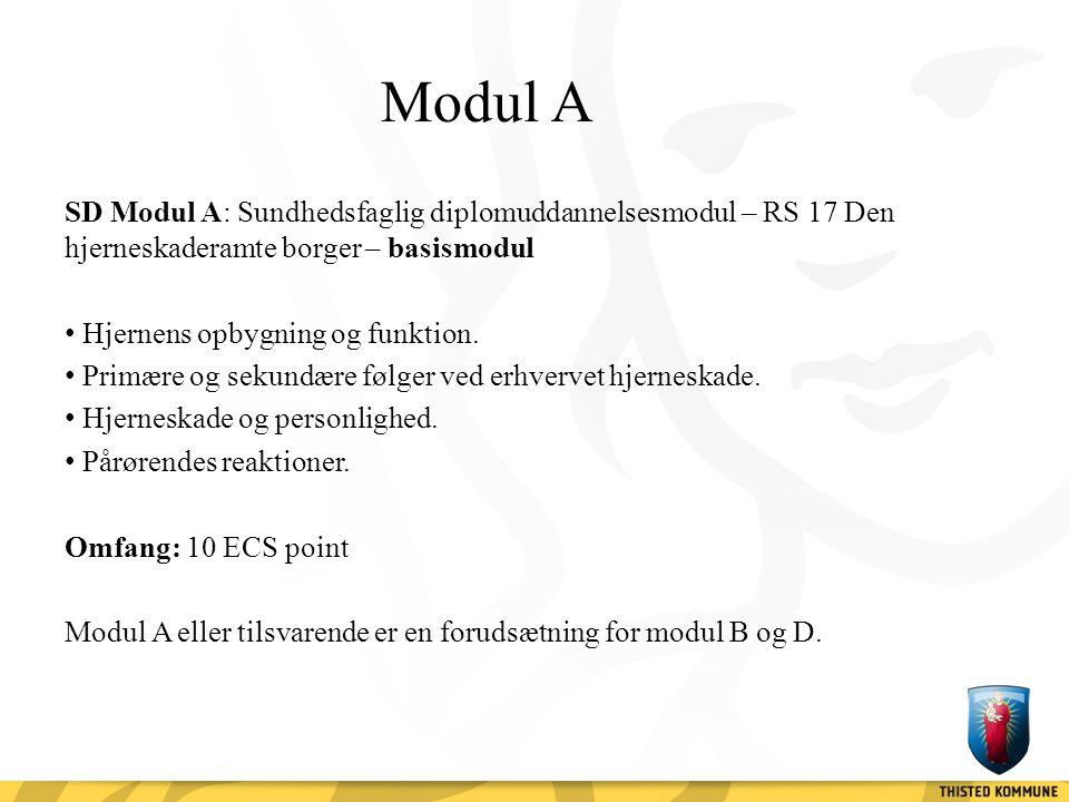 Modul A SD Modul A: Sundhedsfaglig diplomuddannelsesmodul – RS 17 Den hjerneskaderamte borger – basismodul.