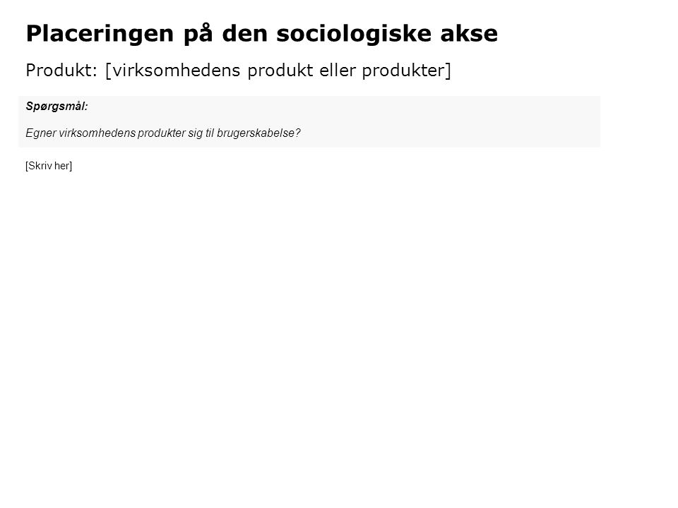 Placeringen på den sociologiske akse